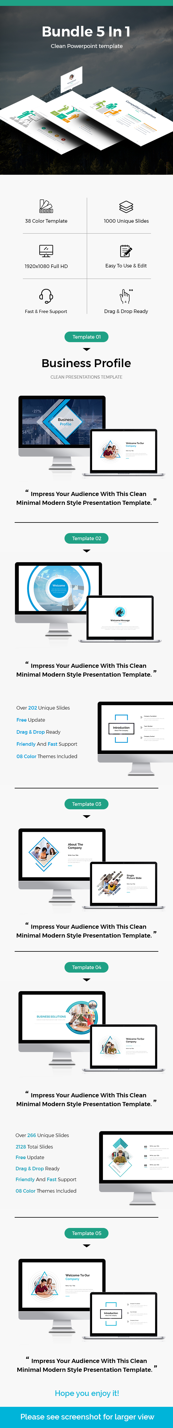 Bundle 5 In 1 Business Powerpoint Template - PowerPoint Templates Presentation Templates