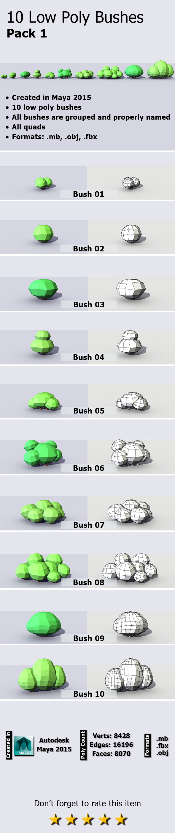 10 Low Poly Bushes Pack - 3DOcean Item for Sale