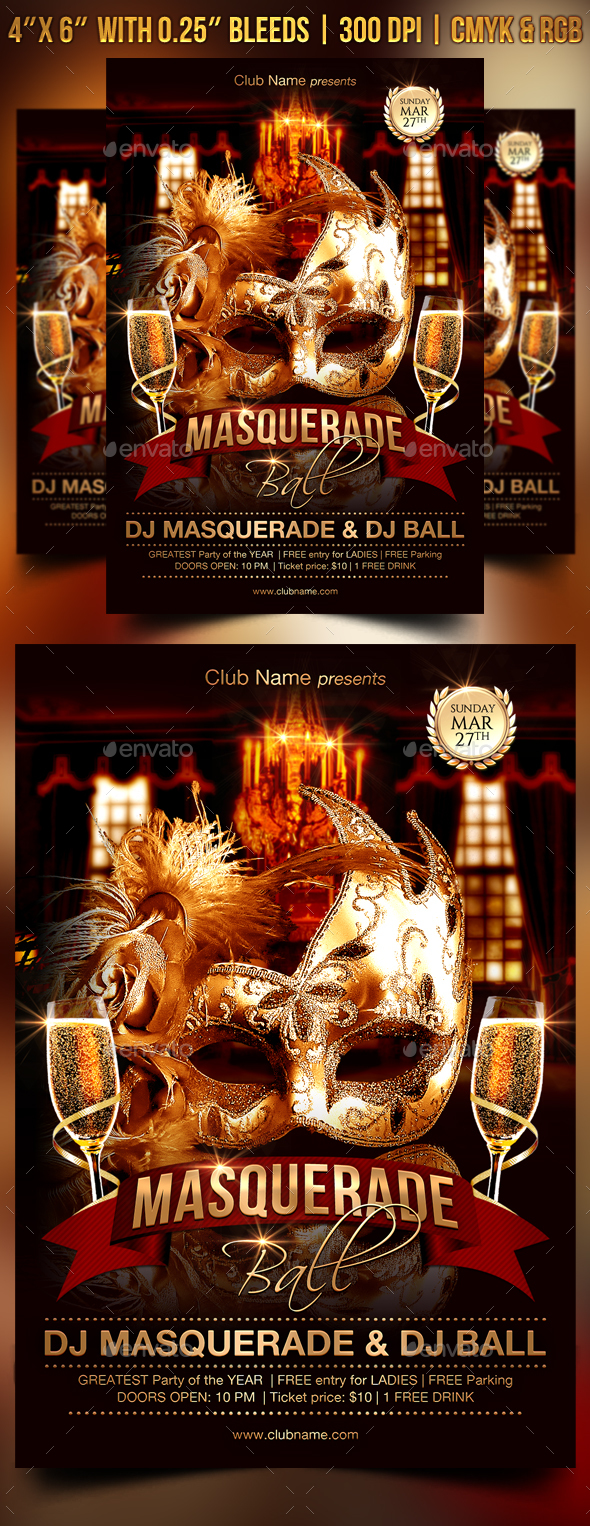 masquerade ball flyer template clubs parties events