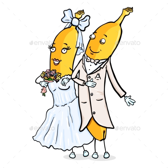 Vector Cartoon Character - Banana Just Married - Food Objects