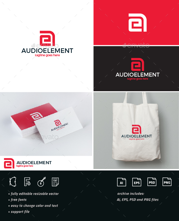 Audio Element Logo • AE Monogram - Letters Logo Templates