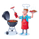 Guy Barbecuing Hamburgers and Hot Dogs - GraphicRiver Item for Sale