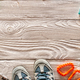 Travel items for hiking over wooden background - PhotoDune Item for Sale