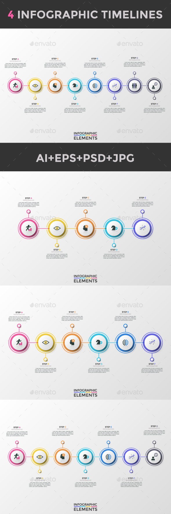 New Minimalism Infographic Timelines (4 Items) - Infographics