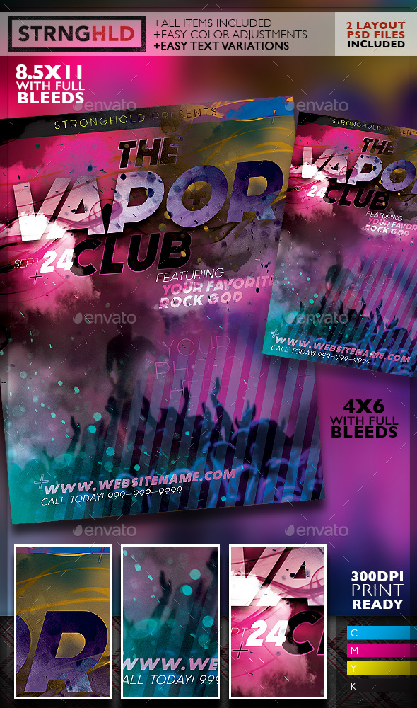 Vapor Club Event Flyer Template By Getstronghold Graphicriver