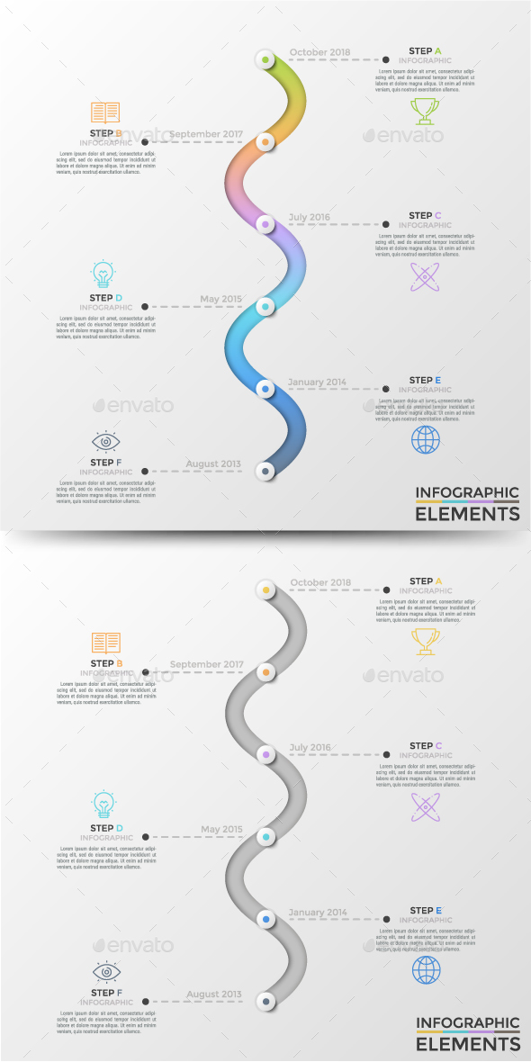 Modern Wave Infographic Process Template - Infographics