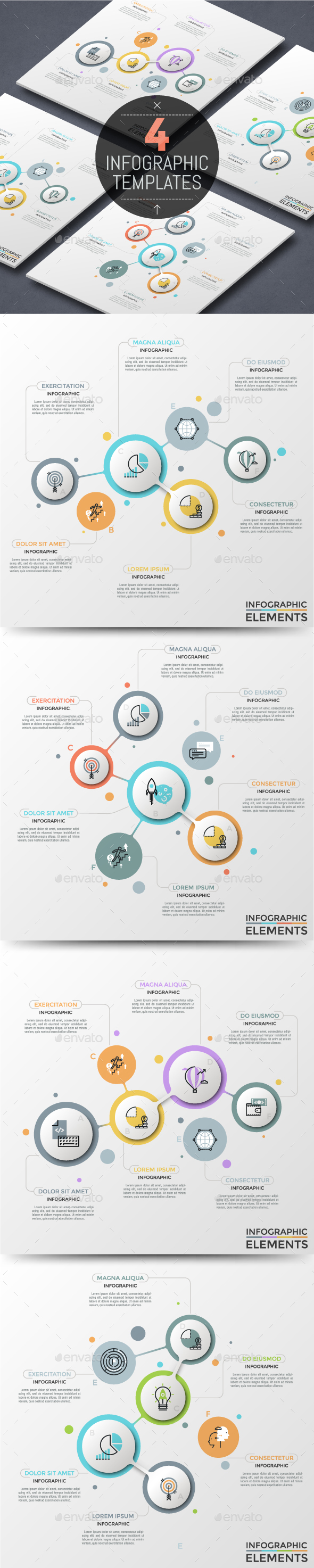 4 Abstract Circular Process Infographic Templates - Infographics