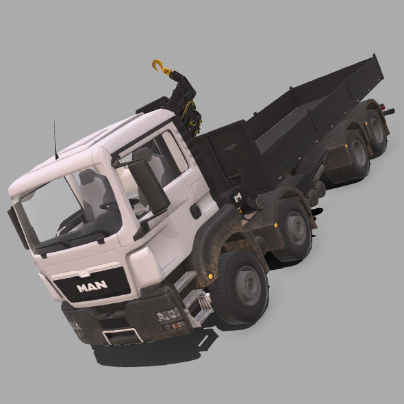 MAN TGS Crane Flatbed - 3DOcean Item for Sale
