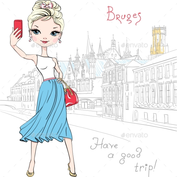 Hipster Girl Makes Selfie in Bruges Belgium - Man-made Objects Objects