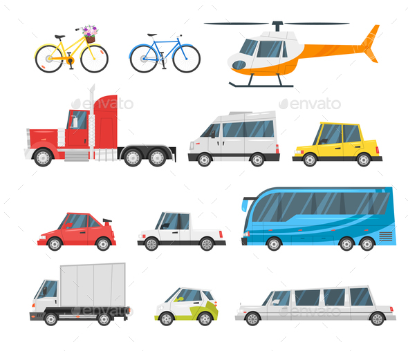 Set of City Transport - Man-made Objects Objects