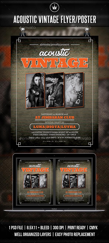 Acoustic Vintage Flyer / Poster - Concerts Events