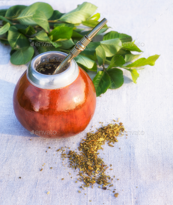 Yerba mate drink and leaves - Stock Photo - Images