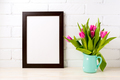 Black brown  frame mockup with rich pink tulips - PhotoDune Item for Sale