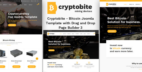 Cryptobite - Bitcoin Joomla Theme with Drag and Drop Builder