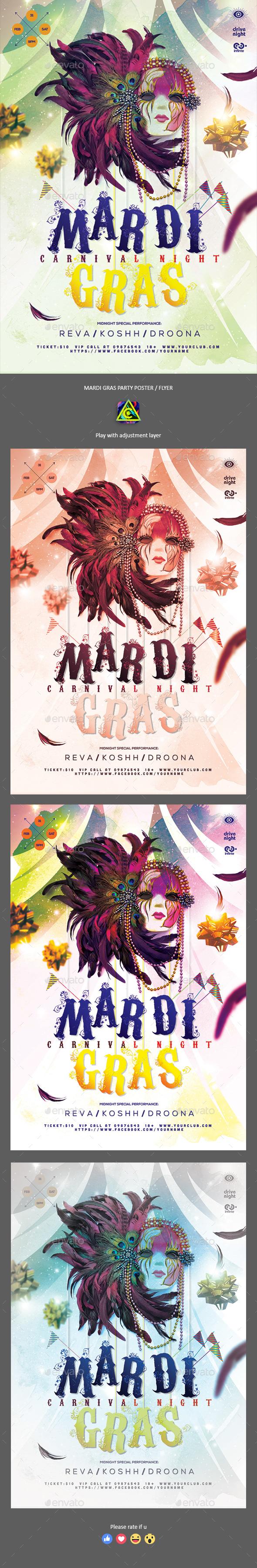 Mardi Gras Poster / Flyer - Events Flyers