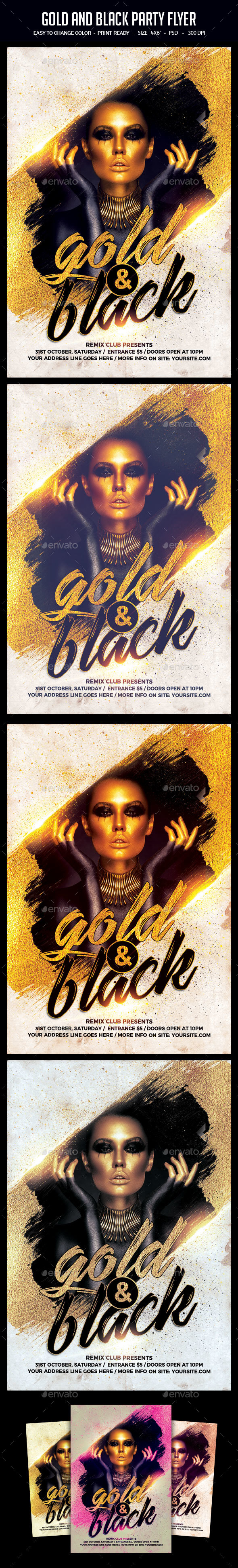 Gold And Black Party Flyer - Clubs & Parties Events