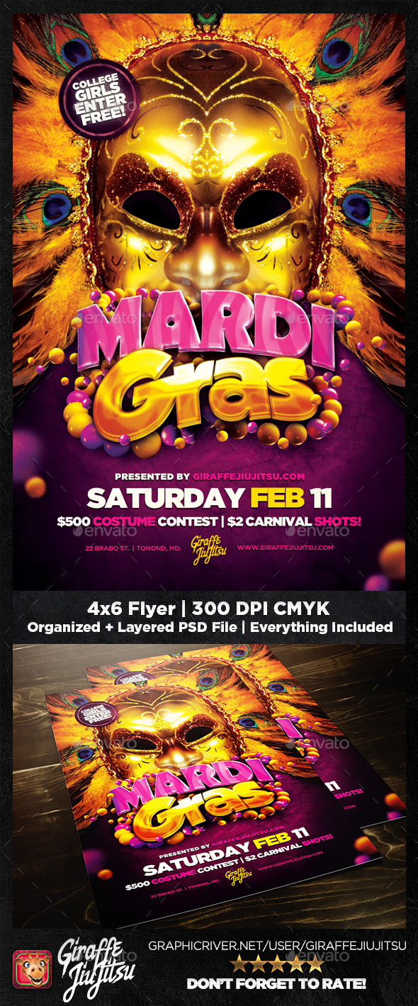 Mardi Gras 2018 Flyer Template - Clubs & Parties Events