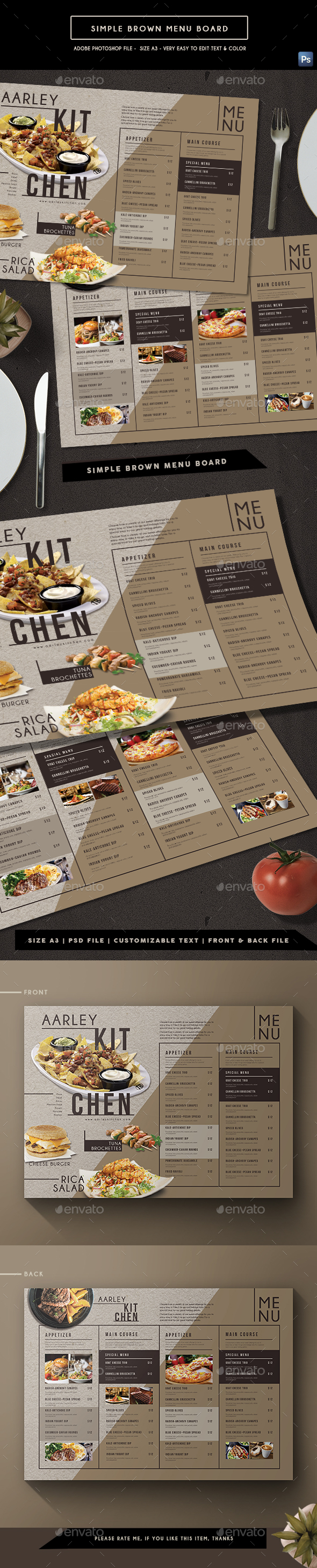 Simple Brown Menu Board 02 - Food Menus Print Templates