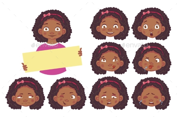 Girl Holding Blank Poster Set - People Characters