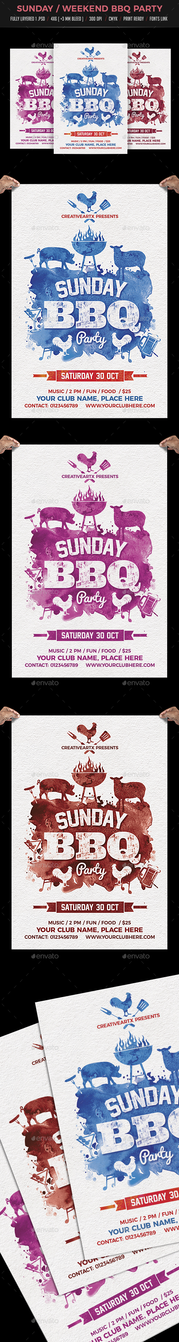 Sunday Weekend BBQ Flyer - Clubs & Parties Events
