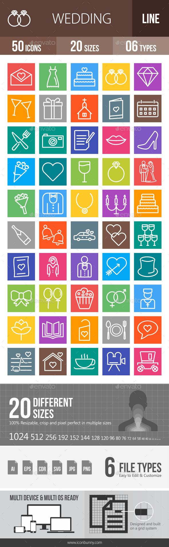 50 Wedding Line Multicolor B/G Icons - Icons