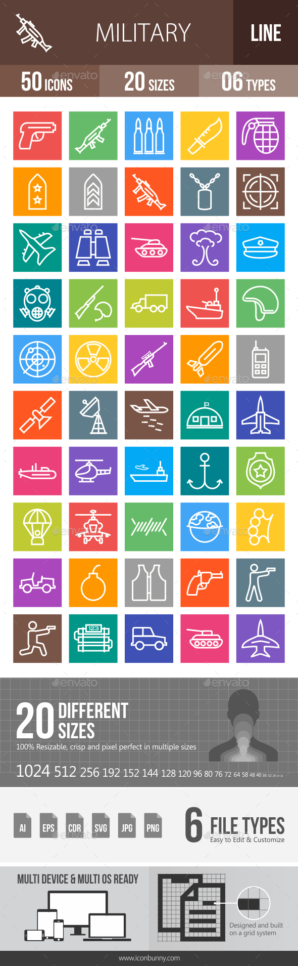 50 Military Line Multicolor B/G Icons - Icons