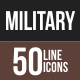 50 Military Line Multicolor B/G Icons