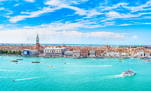 Venice panoramic aerial view, Piazza San Marco with Campanile an - Stock Photo - Images