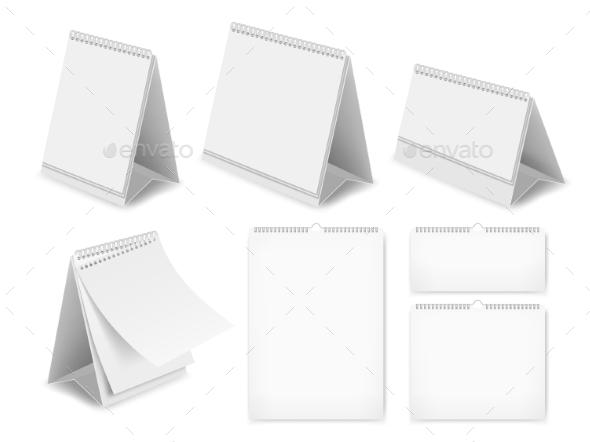 Paper Blank Desk Calendar Set - Miscellaneous Vectors