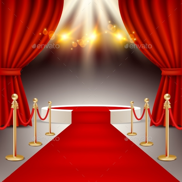 Winners Podium with Red Carpet Vector Realistic - Backgrounds Decorative