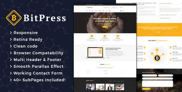 Bitpress - Bitcoin And Crypto Currency HTML Template - Corporate Site Templates