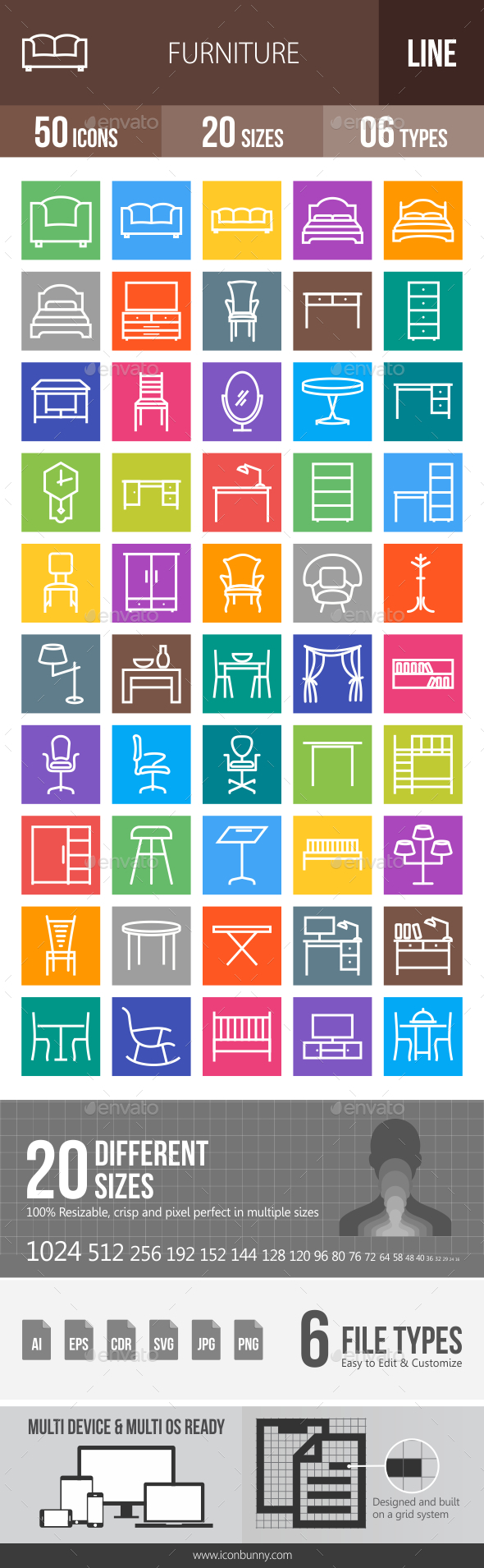 50 Furniture Line Multicolor B/G Icons - Icons