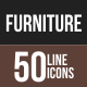 50 Furniture Line Multicolor B/G Icons
