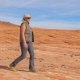 Tourist Hiking in Desert Woman Walking on the Park Red Rock - VideoHive Item for Sale