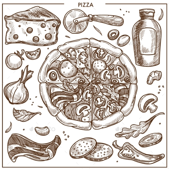 Pizza Ingredients Sketch Vector Icons for Italian - Food Objects
