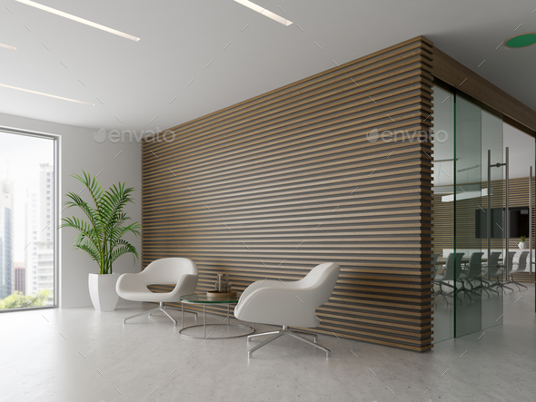 Interior of reception and meeting room 3D illustration - Stock Photo - Images