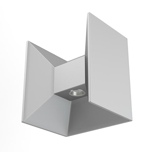 Rectangular Modern Exterior Wall Lamp 3D Model - 3DOcean Item for Sale