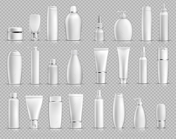 Vector Realistic Cosmetic Bottles Mockup Pack - Health/Medicine Conceptual