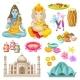 Colorful Indian Culture Elements Set