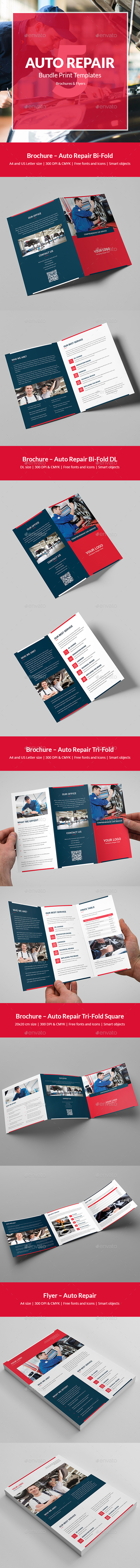 Auto Repair – Bundle Print Templates 5 in 1 - Corporate Brochures