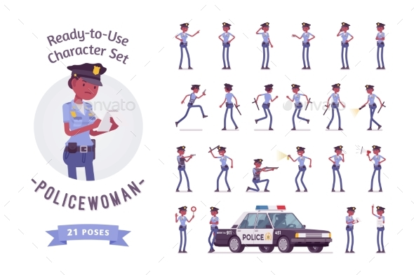 Policewoman Ready-to-Use Character Set - People Characters