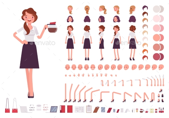 Young Secretary Character Creation Set - People Characters