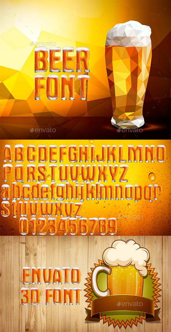 Beer Font - Text 3D Renders