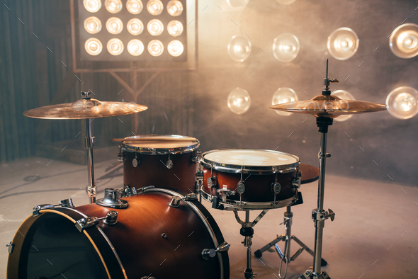 Drum kit, percussion instrument, beat set, nobody - Stock Photo - Images