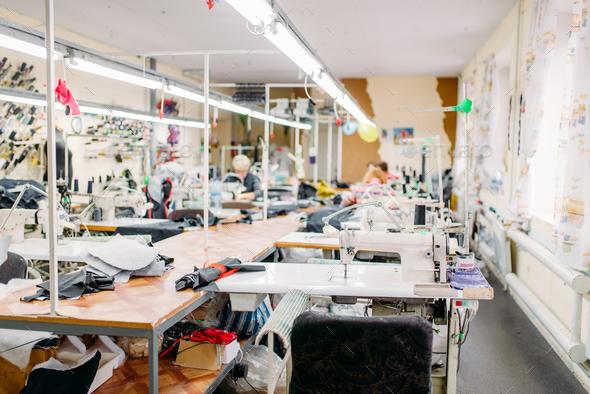 Workshop, production of clothing, sewing machine - Stock Photo - Images