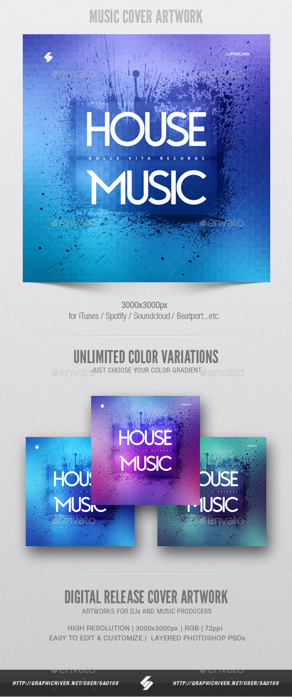 House Music - Digital Album Cover Artwork Template - Miscellaneous Social Media
