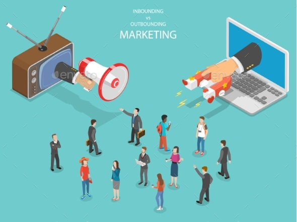 Inbound vs Outbound Marketing Isometric Vector - Computers Technology