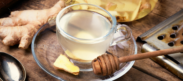 Healing tea from ginger root - Stock Photo - Images
