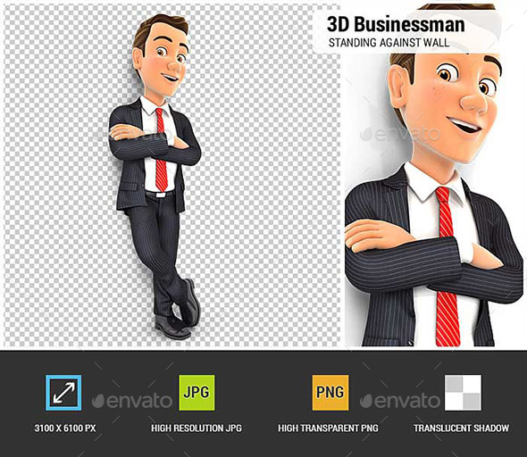 3D Businessman Standing Against Wall - Characters 3D Renders