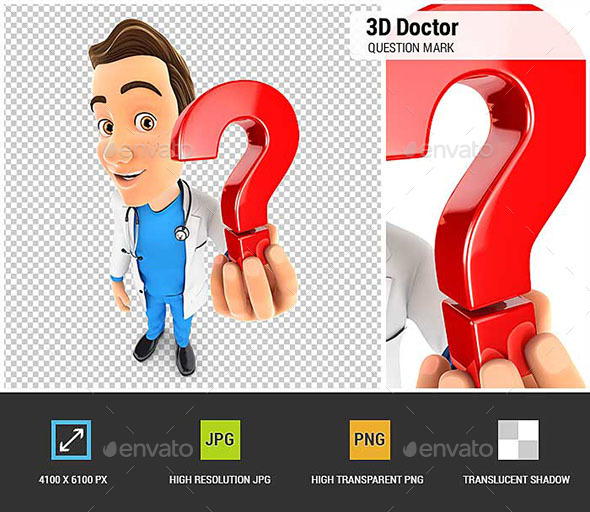 3D Doctor Holding a Question Mark Icon - Characters 3D Renders